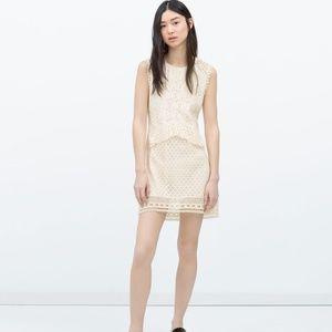 Zara Ivory Cream Lace Crochet Peplum Dress - XS